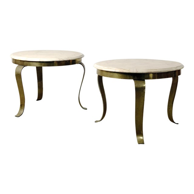 Pair Muller's Onyx & Brass End Tables, 1960's For Sale