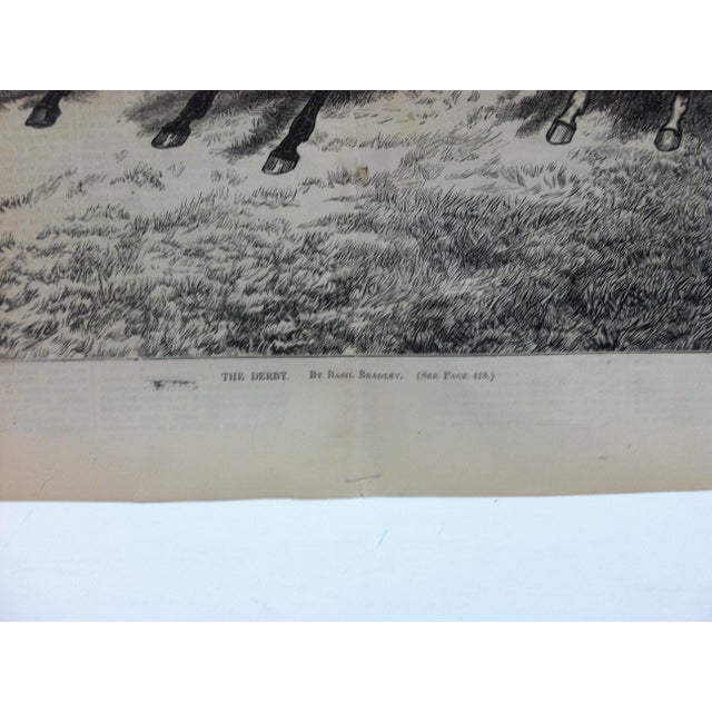 """English 1870s Antique """"The Derby"""" Basil Bradley Illustrated Journal of Choice Reading Print For Sale - Image 3 of 5"""