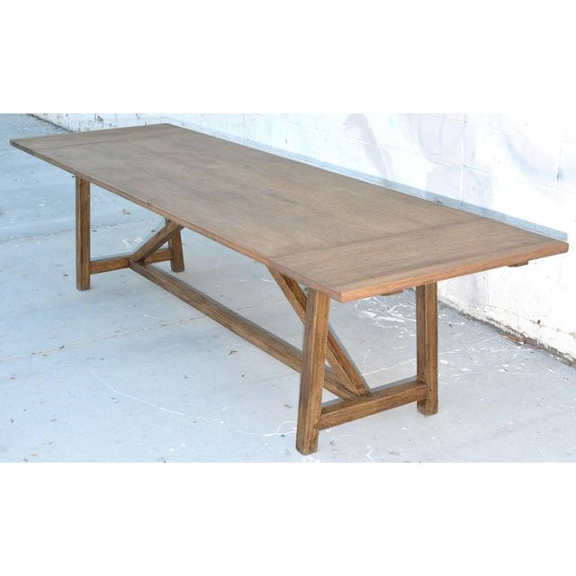 Rustic Extendable Dining Table in Vintage Oak For Sale - Image 10 of 11