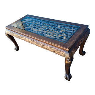 1960s Chinese Hand Carved Coffee Table For Sale