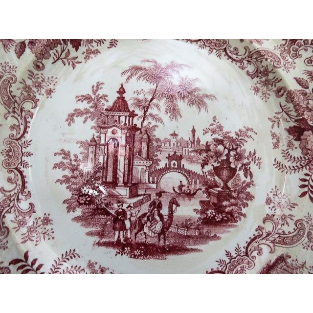 Early 19th Century 1830s F. Dillon China Red & White Transfer Plate For Sale - Image 5 of 10