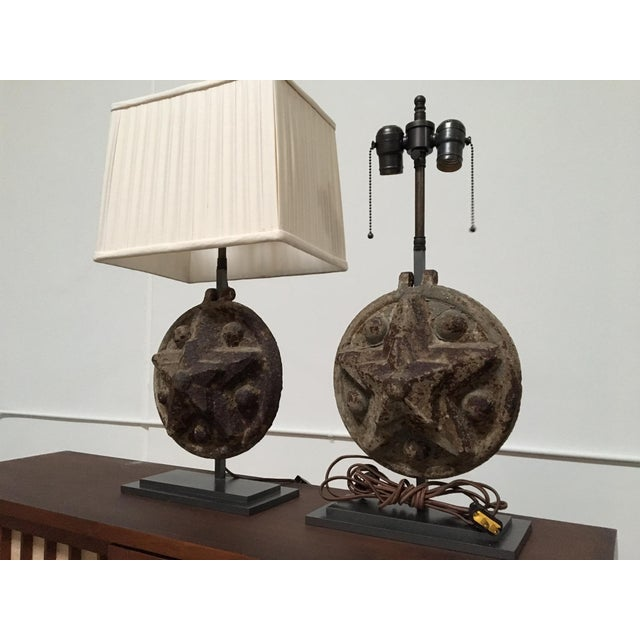 Circa 1860 Antique Iron Star Table Lamps - A Pair For Sale - Image 4 of 8