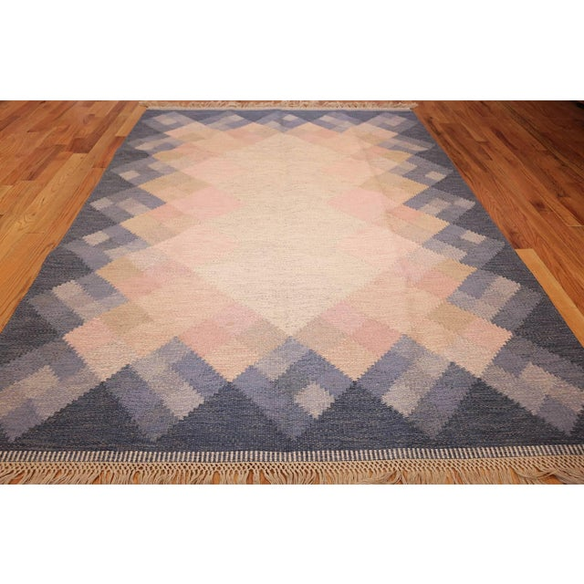 Country Vintage Swedish Kilim Rug by Britta Swefors - 6′6″ × 9′3″ For Sale - Image 3 of 9
