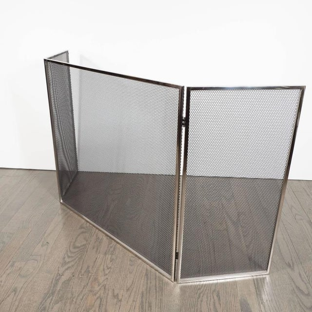 Custom polished nickel and mesh adjustable three panel fire screen. This sleek clean design attractively finished with...