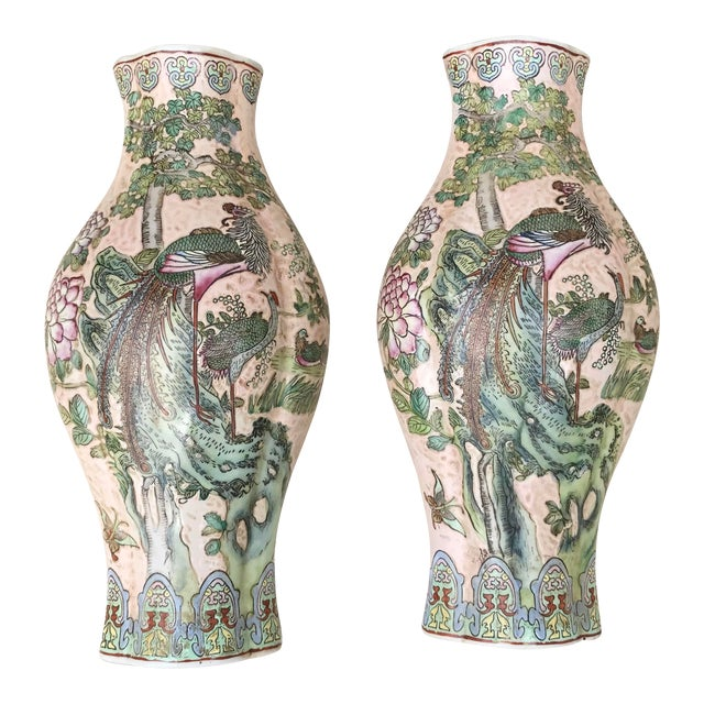 Large Chinoiserie Wall Vases - a Pair For Sale