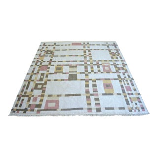 Piet Mondrian - Broadway Boogie Woogie Inspired Silk Hand Woven Area Rug Kilim Wall Rug - 6′ × 6′4″ For Sale
