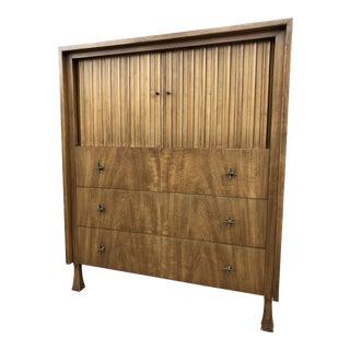 John Widdicomb Walnut Highboy Dresser With Tambour Doors