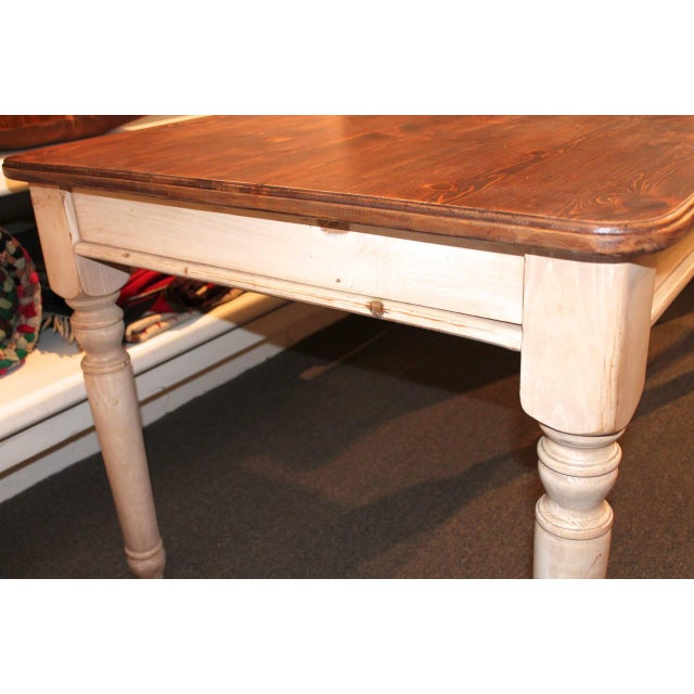 Fantastic 20th Century Handmade and White Painted Base Harvest Table For Sale In Los Angeles - Image 6 of 8