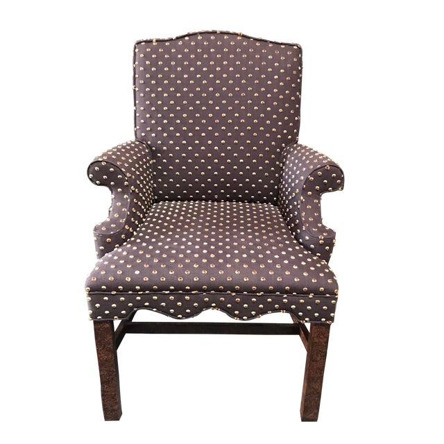 Brown With Cream Mohair Polka Dots Upholstered Arm Chair For Sale