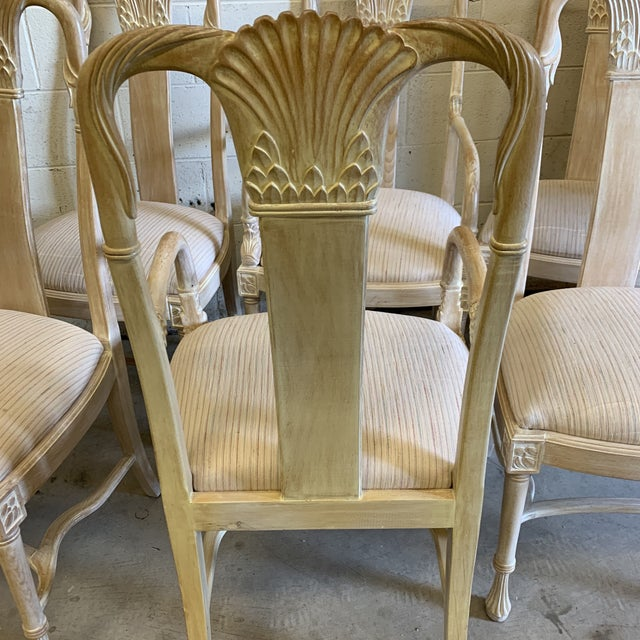 Wood Bleached Wood Hand Carved Dining Chair's-A Set of 6 For Sale - Image 7 of 13