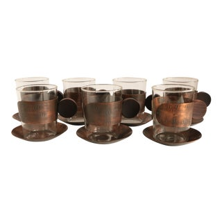 Schaefer Copper & Rosewood Cups and Saucers - Set of 7 For Sale