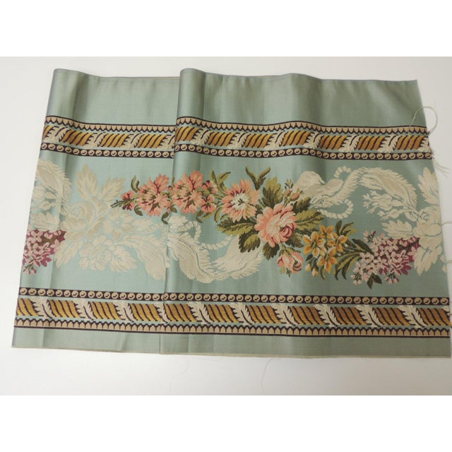 18th Century French Floral Green and Pink Silk Brocade Textile For Sale In Miami - Image 6 of 7