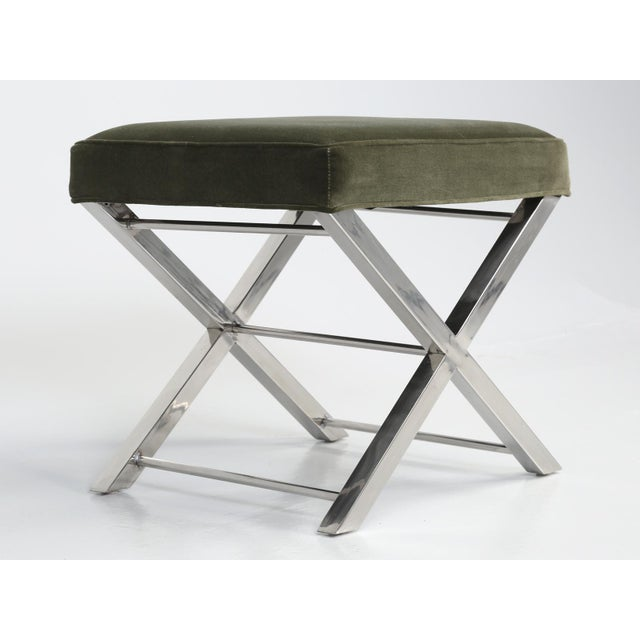 Modern Chrome Stool With Classic X-Style Frame For Sale - Image 4 of 11