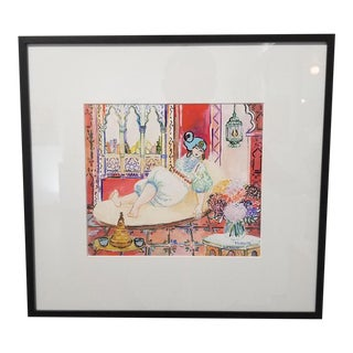 Eva Hannah Morocco Framed Gouache Painting For Sale