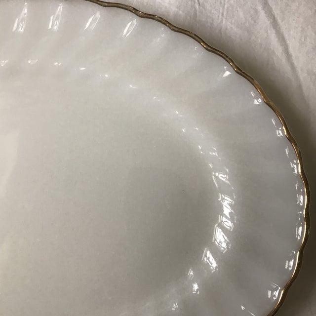 Americana Anchor Hocking Gilded Edge Milk Glass Serving Platter For Sale - Image 3 of 5