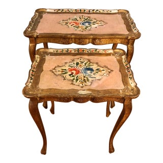 Shabby Chic Gilded Carved Florentine Tables - Set of 2 For Sale