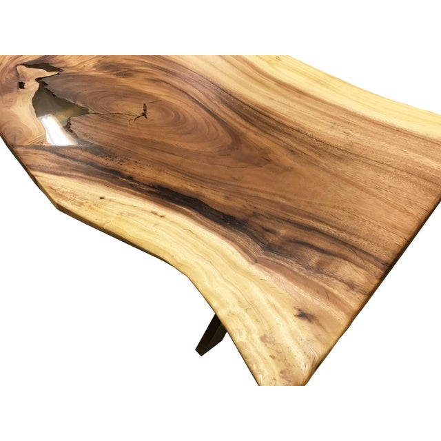 Live Edge Solid Slab Acacia Wood Dining Table - Image 4 of 11