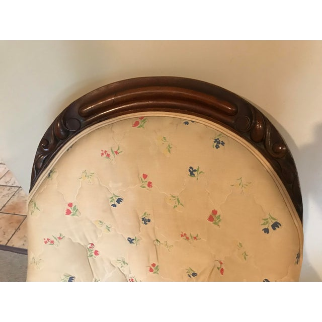 Wood Victorian Slipper Chair and Ottoman For Sale - Image 7 of 13