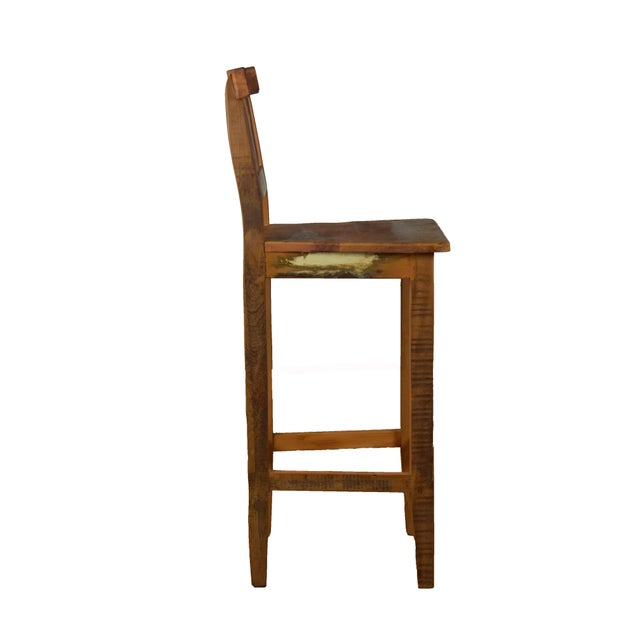 Art Deco Reclaimed Wood Bar Stool For Sale - Image 3 of 4