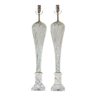 Vintage Murano Glass Table Lamps Clear For Sale