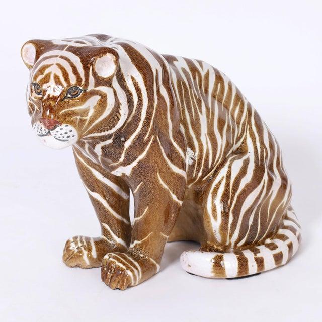 Terra Cotta Mid Century Terra Cotta Tiger For Sale - Image 8 of 8