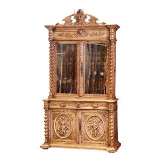 19th Century French Henri II Carved Bleached Oak Gun Cabinet With Hunt Motifs For Sale