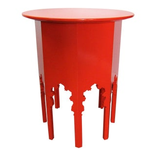 Moroccan Style Wood Table , New Orange Lacquer Finish For Sale