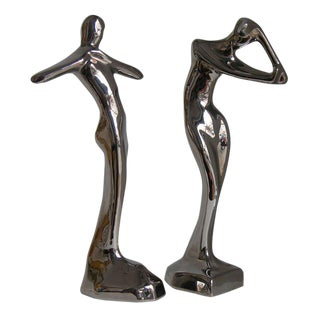 Contemporary Italian Stylized Ceramic Women Sculptures in Platinum - a Pair For Sale