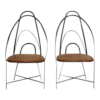 Mid-Century French Handmade Iron Chairs - a Pair For Sale