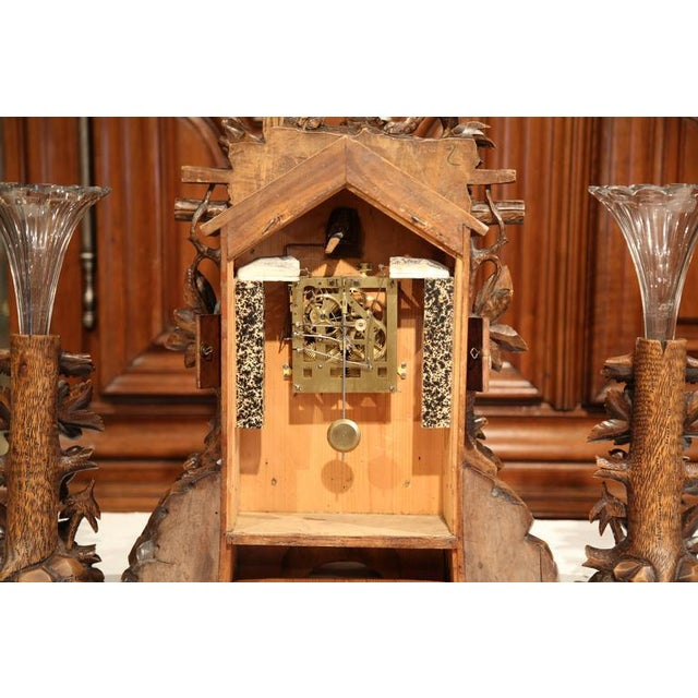 19th Century Black Forest Carved Walnut Cuckoo Clock - Set of 3 For Sale - Image 11 of 11