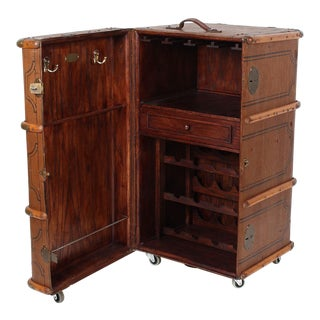 Vintage Steamer Trunk Wine Bar Cabinet