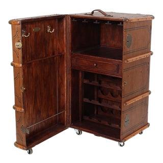 Vintage Steamer Trunk Wine Bar Cabinet