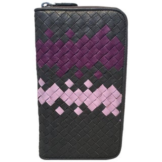 Bottega Veneta Woven Grey and Purple Leather Zip Wallet For Sale