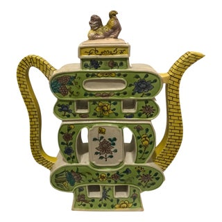 Thin Chinoiserie Foo Dog Teapot Sculpture Figurine