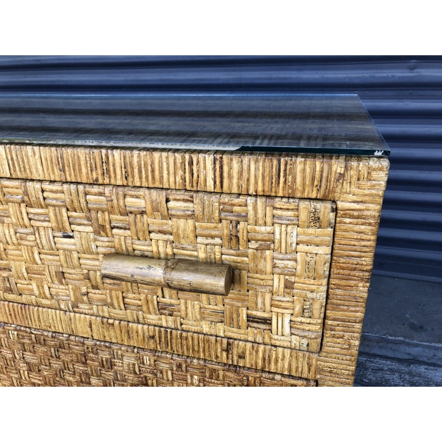 Caning Vintage Woven Wrapped Rattan Chests- a Pair For Sale - Image 7 of 13