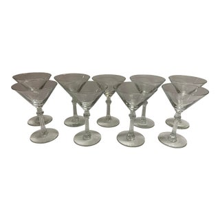 Vintage 1950s Martini Glasses - Set of 9 For Sale