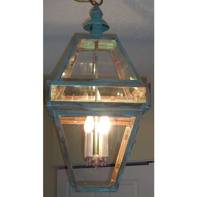 Four Sides Architectural Hanging Copper Lantern - Image 3 of 11