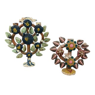 """Antique Mexican """"Tree of Life"""" Candelabras For Sale"""