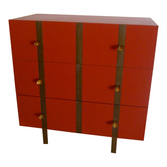 Paul Marra 3-Drawer Banded Chest For Sale