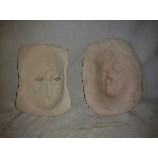 Clay Vintage 1970's Pottery Face Masks - A Pair For Sale - Image 7 of 8