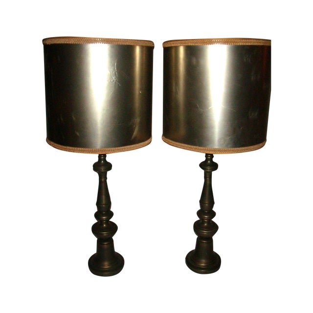 1920's Pewter Table Lamps - A Pair - Image 1 of 7