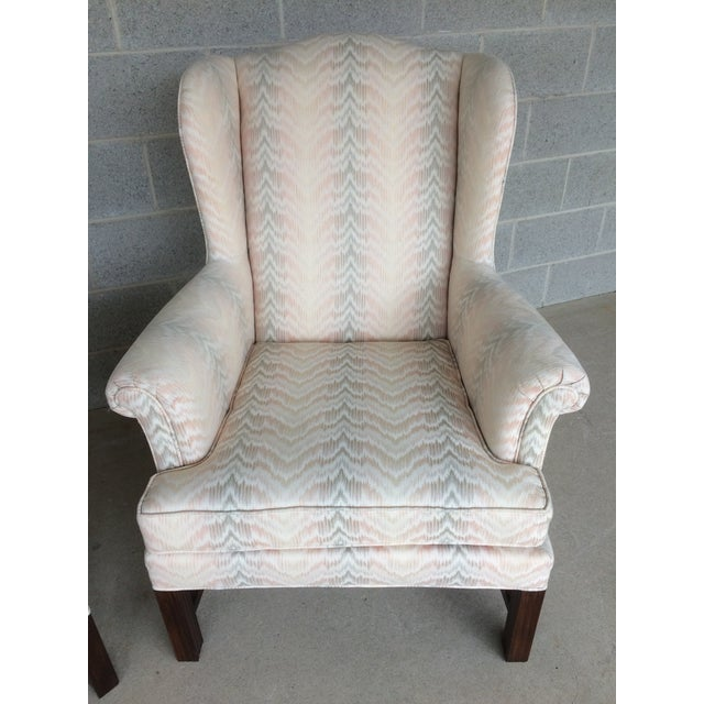 Drexel Traditional Classics Chippendale Style Wing Back Chairs - A Pair - Image 4 of 9