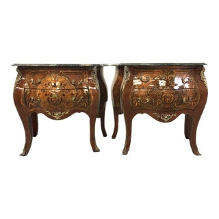 French Louis XV Style Brass Mounted Commodes-a Pair For Sale