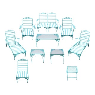 Eleven Piece Vintage Woodard Outdoor Furniture in Turquoise - Set of 11 For Sale