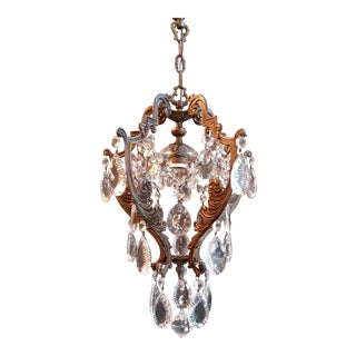 Lustré Cage Chandelier Crystal Ceiling Lamp Hall Lustre Antique Art Nouveau For Sale