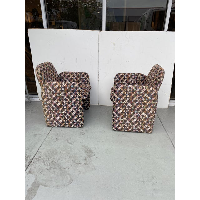 1980s Pair of Vintage Lounge Chairs in Geometric Fabric. For Sale - Image 5 of 13