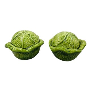 1990s Ceramic Cabbage Salt and Pepper Shakers - a Pair For Sale