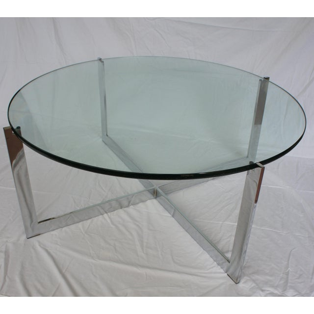 Milo Baughman Chrome & Glass Round Coffee Table For Sale In Washington DC - Image 6 of 11