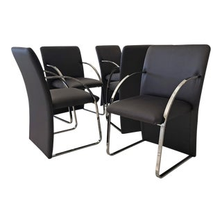 Set of 6 Chrome Dining Chairs by Rougier For Sale