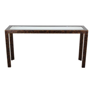 Mid-Century Modern Faux Tortoise Shell Console For Sale